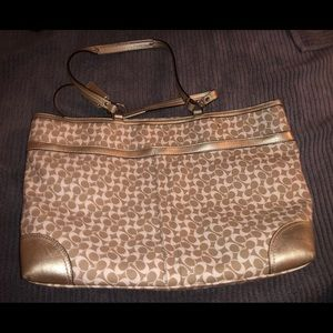 Coach Bags - Gold and Cream Coach Large Tote